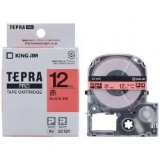 Nhãn in Tepra Pro SC12R ( Chữ đen trên nền đỏ - Khổ 12mm - Dài 8 met )