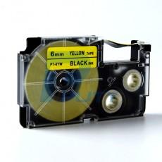 Nhãn in  CASIO PT-6YW ( chữ đen nền vàng 6mm )