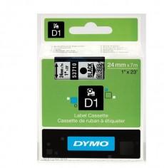 Nhãn in Dymo (D1) S0720920 nhựa Polyester 24mm x 7m – (Đen/Trong)