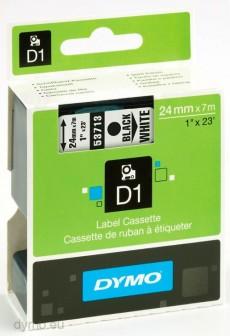 Nhãn in Dymo (D1) S0720930 nhựa Polyester 24mm x 7m – (Đen/Trắng)