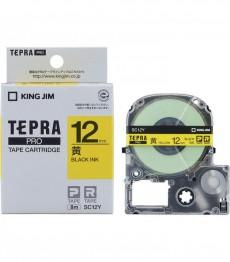 Nhãn in Tepra Pro SC12Y ( Chữ đen trên nền vàng - Khổ 12mm - Dài 8 met )