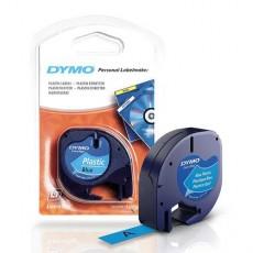 Nhãn in Dymo S0721650 (LT) nhựa Polyester ( Đen/xanh dương - 12mm x 4m )