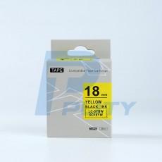 Nhãn in TEPRA SC18YW ( Tương Đương SC18Y ) - Nhãn chữ đen trên nền vàng, 18mm