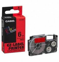 Nhãn in CASIO XR-6RD1 ( Chữ đen trên nền đỏ - 6mm - dài 8 met )