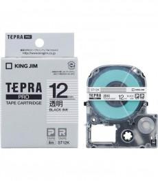 Nhãn in Tepra Pro ST12K ( Chữ đen trên nền trong - Khổ 12mm - Dài 8 met )