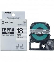 Nhãn in Tepra Pro ST18K ( Chữ đen trên nền trong - Khổ 18mm - Dài 8 met )