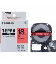 Nhãn in Tepra Pro SC18R ( Chữ đen trên nền đỏ - Khổ 18mm - Dài 8 met )