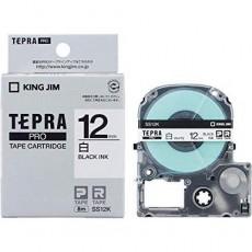 Nhãn in Tepra Pro SS12K ( Chữ đen trên nền trắng - Khổ 12mm - Dài 8 met )