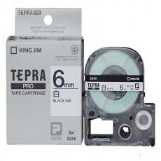 Nhãn in Tepra SS6K ( Chữ đen nền trắng - Khổ 6mm - Dài 8 met )