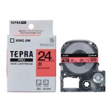 Nhãn in Tepra Pro SC24R ( Chữ đen trên nền đỏ - Khổ 24mm - Dài 8 met )