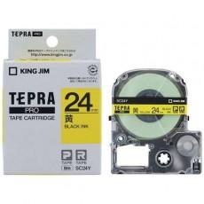 Nhãn in Tepra Pro SC24Y ( Chữ đen trên nền vàng - Khổ 24mm - Dài 8 met )