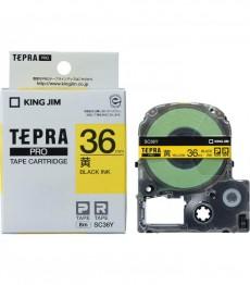 Nhãn in Tepra Pro SC36Y ( Chữ đen trên nền vàng - Khổ 36mm - Dài 8 met )