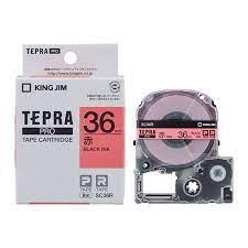 Nhãn in Tepra Pro SC36R ( Chữ đen trên nền đỏ - Khổ 36mm - Dài 8 met )