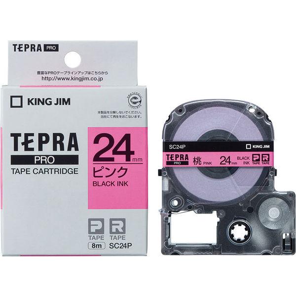 Băng Dán Nhãn Tepra Pro SC24P ( Chữ đen trên nền hồng - Khổ 24mm - Dài 8 met )