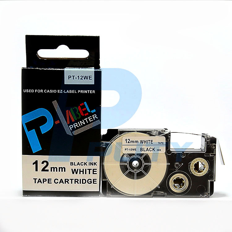 Nhãn in  CASIO PT-12WE ( chữ đen nền trắng 12mm )