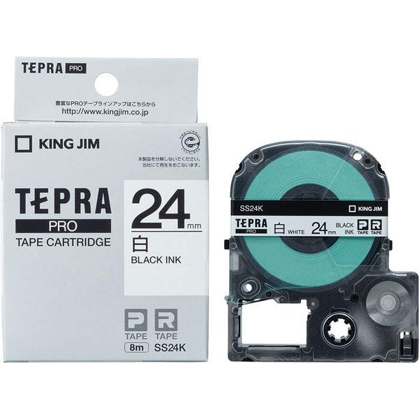 Băng Dán Nhãn Tepra Pro SS24K ( Chữ đen trên nền trắng - Khổ 24mm - Dài 8 met )