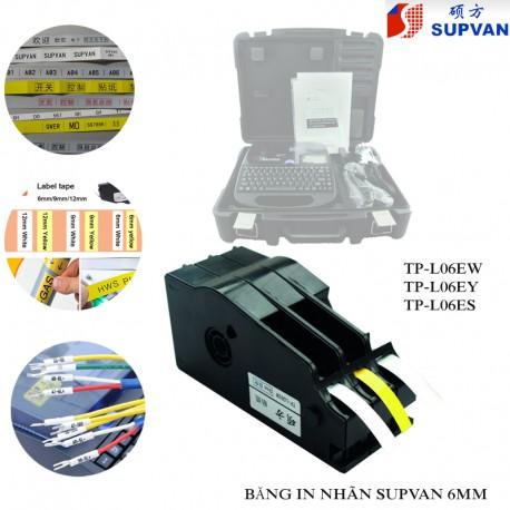 Băng in nhãn Supvan TP-L06EW (6mm trắng 16m/cuộn)