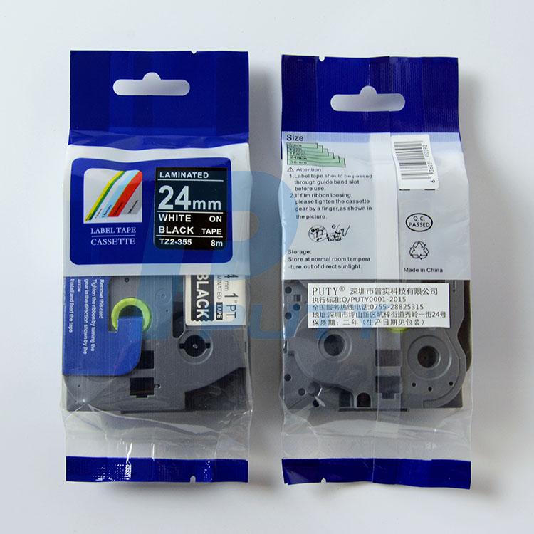Nhãn in TZ2-355 ( Nhãn in 24mm - chữ trắng nền đen - dài 8 met )