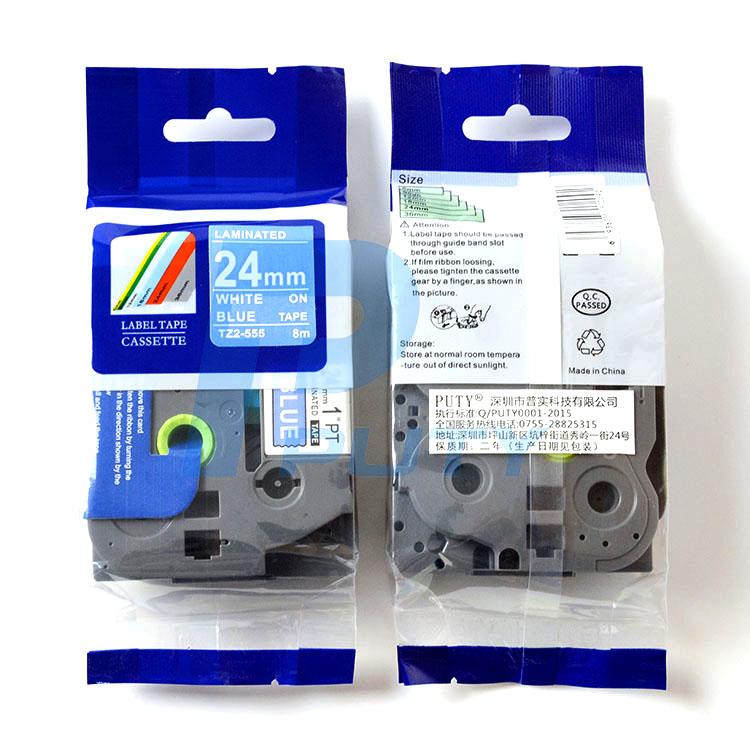 Nhãn in TZ2-555 ( Nhãn in 24mm - chữ trắng nền xanh - dài 8 met )