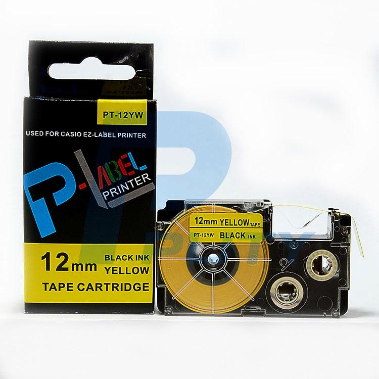 Nhãn in  CASIO PT-12YW ( chữ đen nền vàng 12mm )