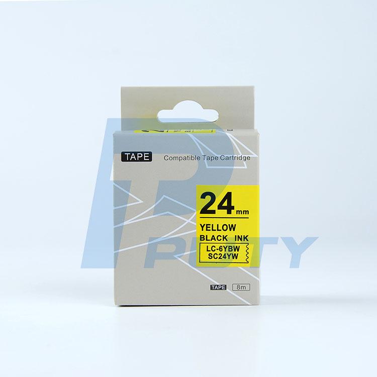 Nhãn in TEPRA SC24YW ( Tương Đương SC24Y ) - Nhãn chữ đen trên nền vàng, 24mm