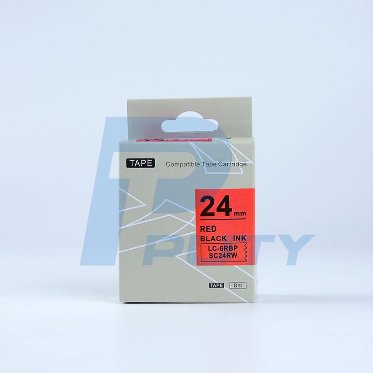 Nhãn in TEPRA SC24RW ( Tương Đương SC24R ) - Nhãn chữ đen trên nền đỏ, 24mm