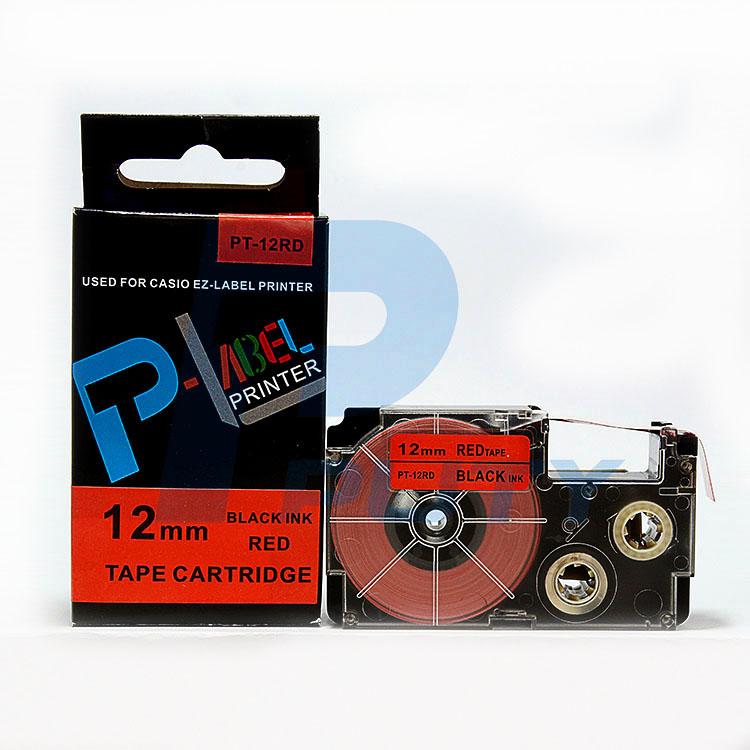 Nhãn in  CASIO PT-12RD ( chữ đen nền đỏ 12mm )
