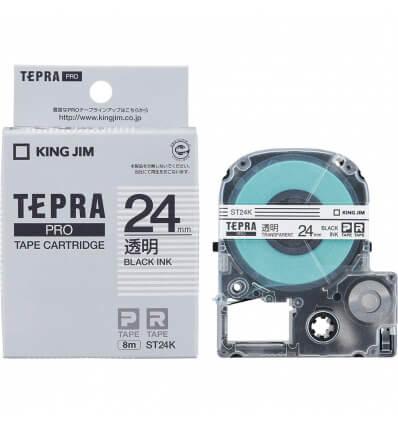 Băng Dán Nhãn Tepra Pro ST24K ( Chữ đen trên nền trong - Khổ 24mm - Dài 8 met )