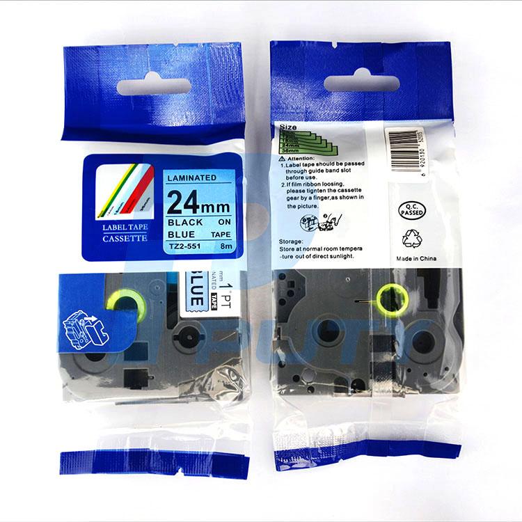 Nhãn in TZ2-551 ( Nhãn in 24mm - chữ đen nền xành - dài 8 met )