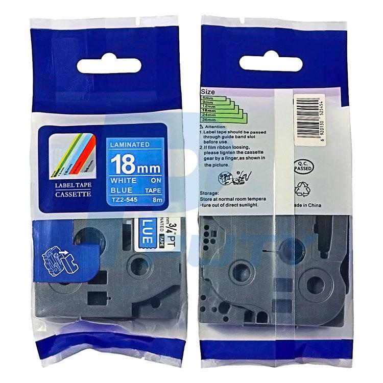 Nhãn in TZ2-545 ( Nhãn in 18mm - chữ trắng nền xanh - dài 8 met )